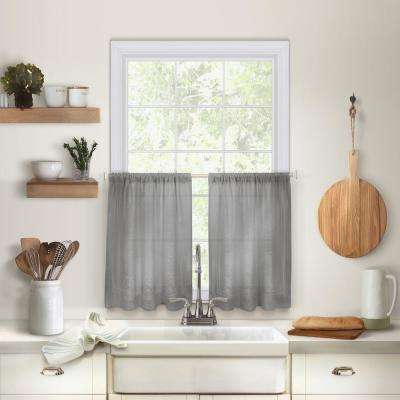 Cameron 30 in. W x 36 in. L Linen Kitchen Tiers in Gray (Set of 2)