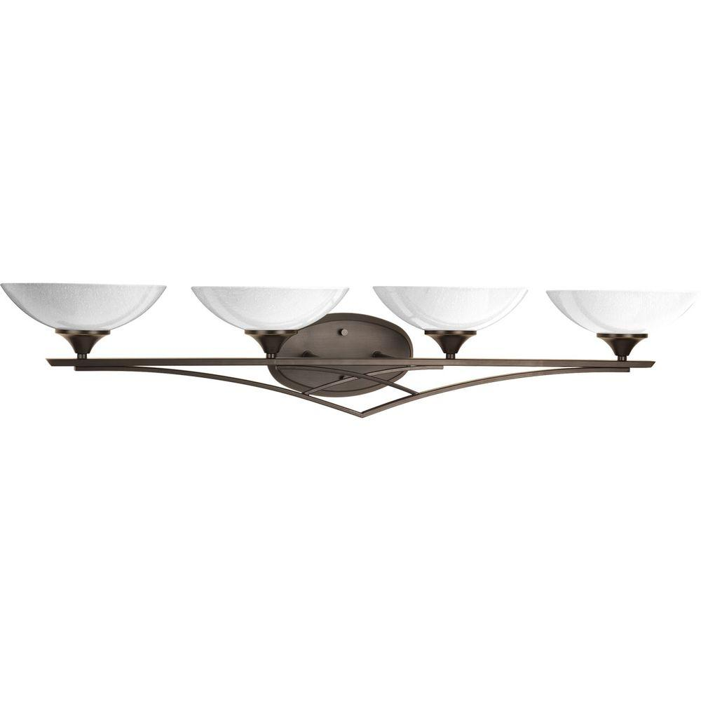 Progress Lighting Prosper Collection 4-Light Antique Bronze Bathroom Vanity Light with Glass Shades