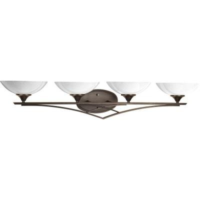 Prosper Collection 4-Light Antique Bronze Bathroom Vanity Light with Glass Shades