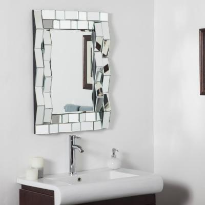 31.5 in. x 23.6 in. Rectangle Iso Modern Vanity Decorative Mirror with Beveled Edge