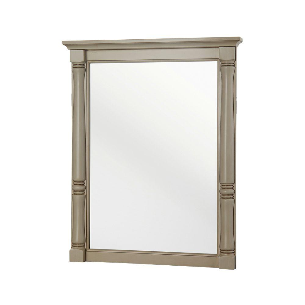 Home Decorators Collection Albertine 30 in. H x 24 in. W Framed Wall Mirror in Creamy White