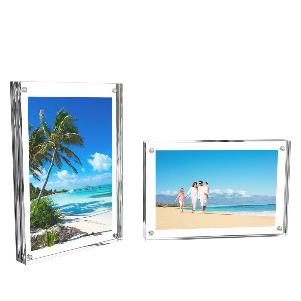 lavish home clear acrylic picture frame 2 pack hw0200008 the home depot. Black Bedroom Furniture Sets. Home Design Ideas