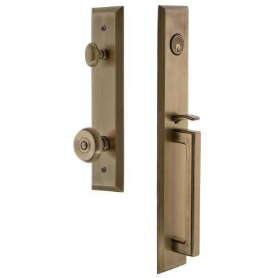 Fifth Avenue Vintage Brass 1-Piece Door Handleset with D-Grip and Bouton Knob