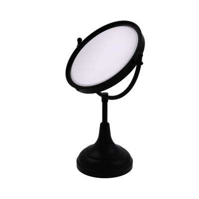 15 in. x 8 in. Vanity Top Make-Up Mirror 4x Magnification in Matte Black