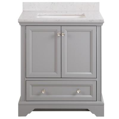 Stratfield 31 in. W x 22 in. D Bathroom Vanity in Sterling Gray with Stone Effect Vanity Top in Pulsar with White Sink