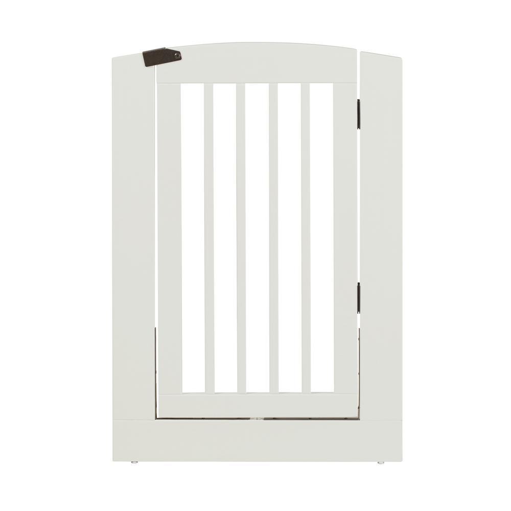 Attirant H Wood Freestanding Single Panel White Pet Gate With Door