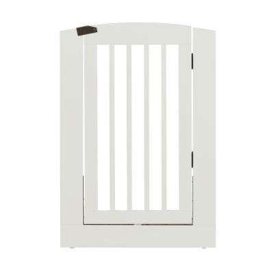 Ruffluv 36 in. H Wood Freestanding Single Panel White Pet Gate with Door