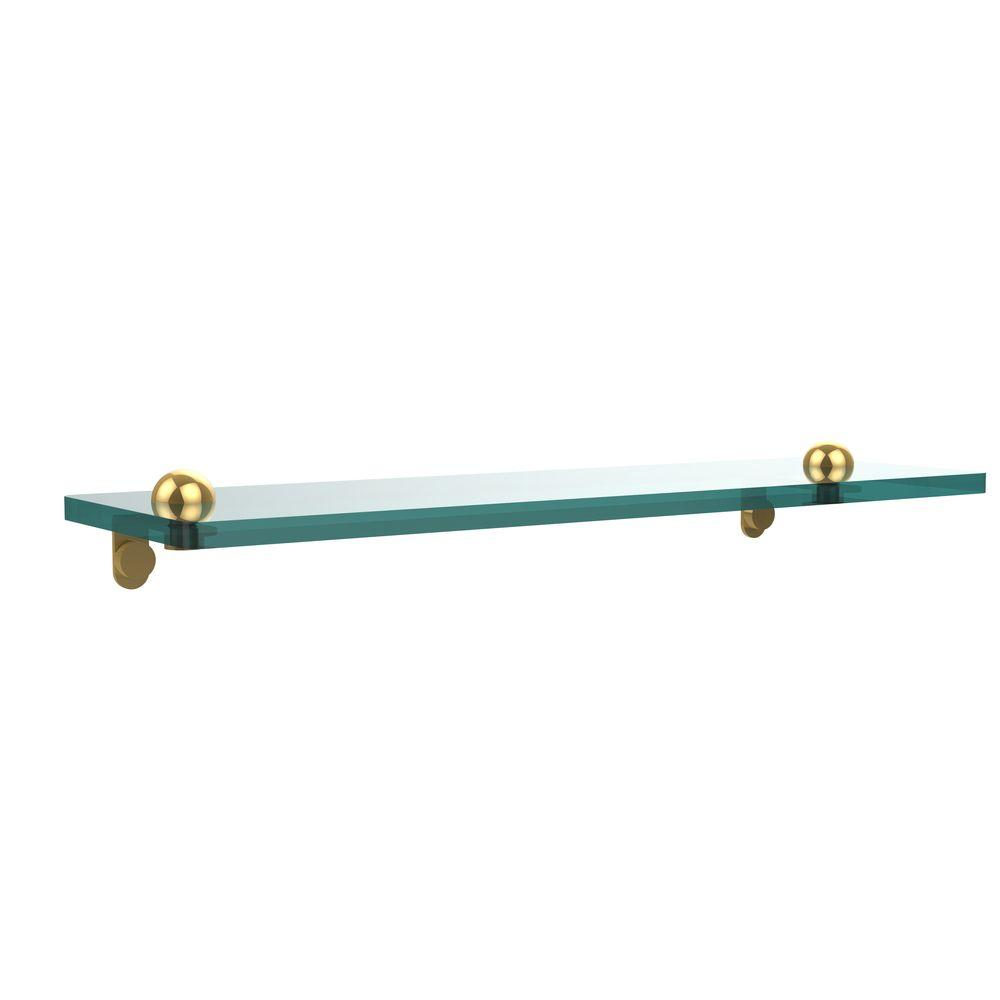 Allied Brass 16 in. L x 2 in. H x 5 in. W Clear Glass Vanity Bathroom Shelf in Polished Brass