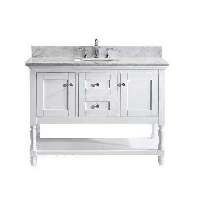 Julianna 49 in. W Bath Vanity in White with Marble Vanity Top in White with Round Basin and Faucet