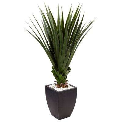 Indoor/Outdoor Spiked Agave Artificial Plant in Black Planter