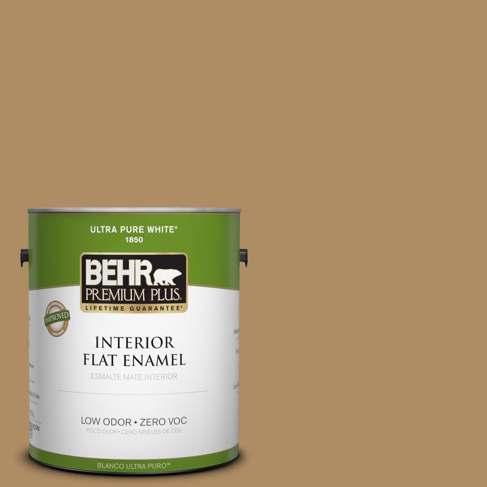 BEHR Premium Plus 1-gal. #300F-5 Brown Rabbit Zero VOC Flat Enamel Interior Paint-DISCONTINUED