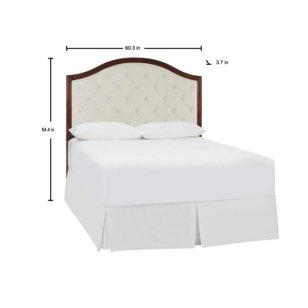 Queen Panel Headboard White Fabric Tufted Upholstered Trimmed Adjustable Height