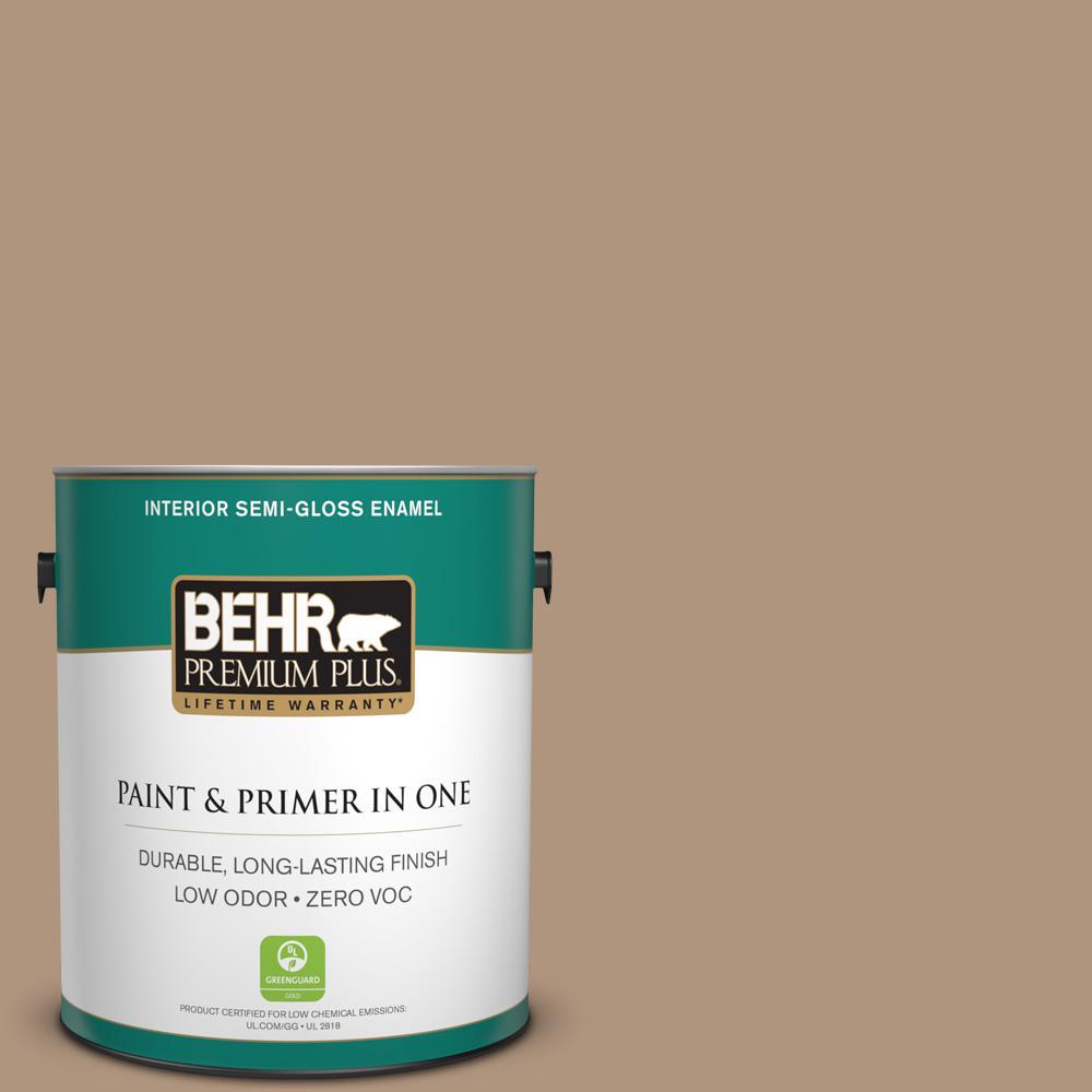 1 gal. #PPU4-04 Soft Chamois Zero VOC Semi-Gloss Enamel Interior Paint