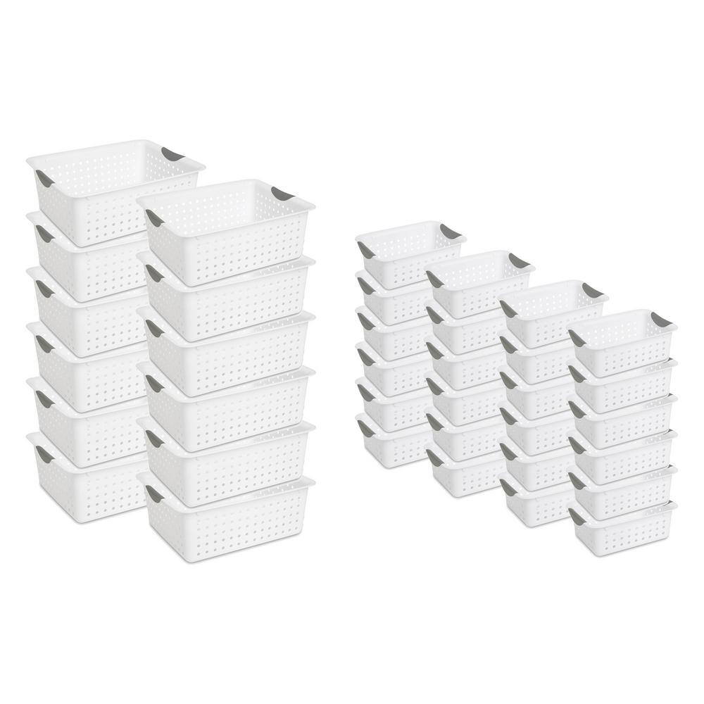 15.875 in. D x 6 in. W x 12.875 in. H Large Ultra Storage Bin Basket White (12-Pack) + Small Bin (24-Pack)
