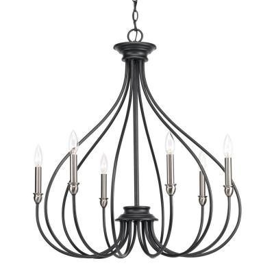 Whisp Collection 6-Light Graphite Chandelier with Brushed Nickel Accents