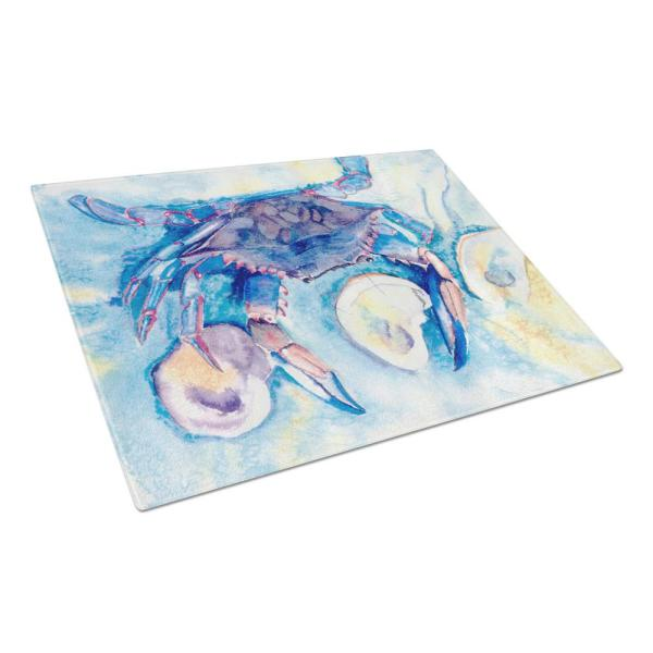 Caroline's Treasures Crab Tempered Glass Cutting Board Large 8042LCB