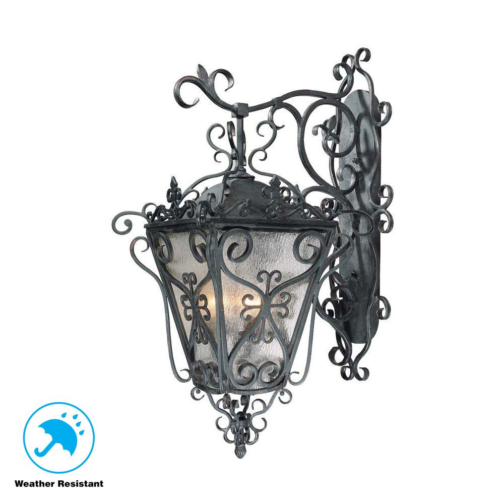 World Imports New Orleans Style Outdoor Collection 4-Light Wrought Iron Wall-Mount Lantern
