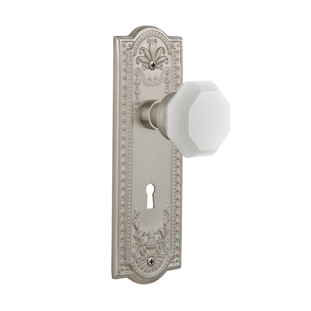 Meadows Plate Interior Mortise Waldorf White Milk Glass Knob in Satin