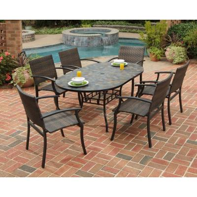 Stone Harbor 7-Piece Slate Tile Top Rectangular Patio Dining Set with Newport Chairs