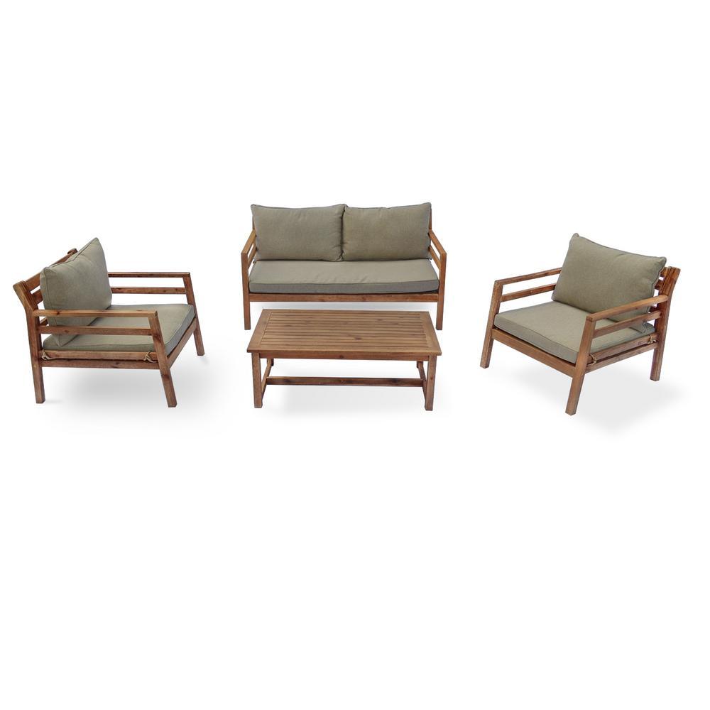 Anaheim 4 -Piece Wood Outdoor Sofa Set with Green Cushions