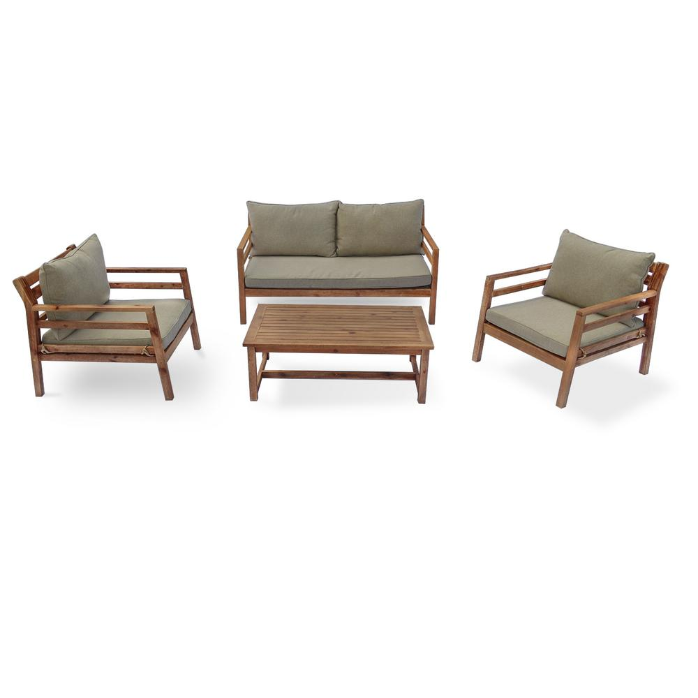 Courtyard Casual Anaheim 4 Piece Wood Outdoor Sofa Set With Green Cushions