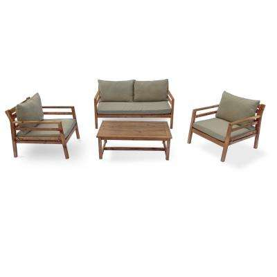 Anaheim 4 -Piece Wood Outdoor Sofa Set with Green Cushions