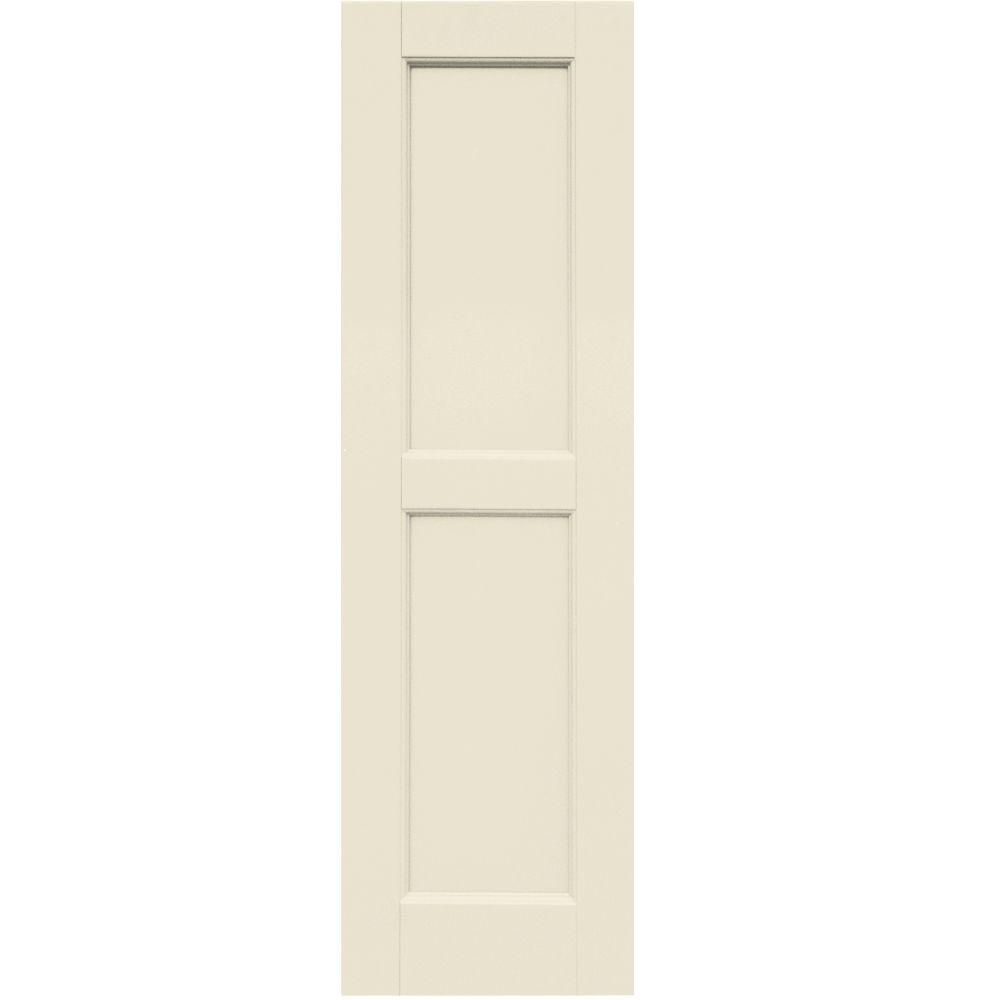 Winworks Wood Composite 12 in. x 41 in. Contemporary Flat Panel Shutters Pair #651 Primed/Paintable