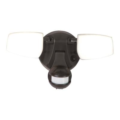 180° Bronze Motion Activated Outdoor Integrated LED Twin Head Flood Light with Selectable CCT (3000K-5000K)