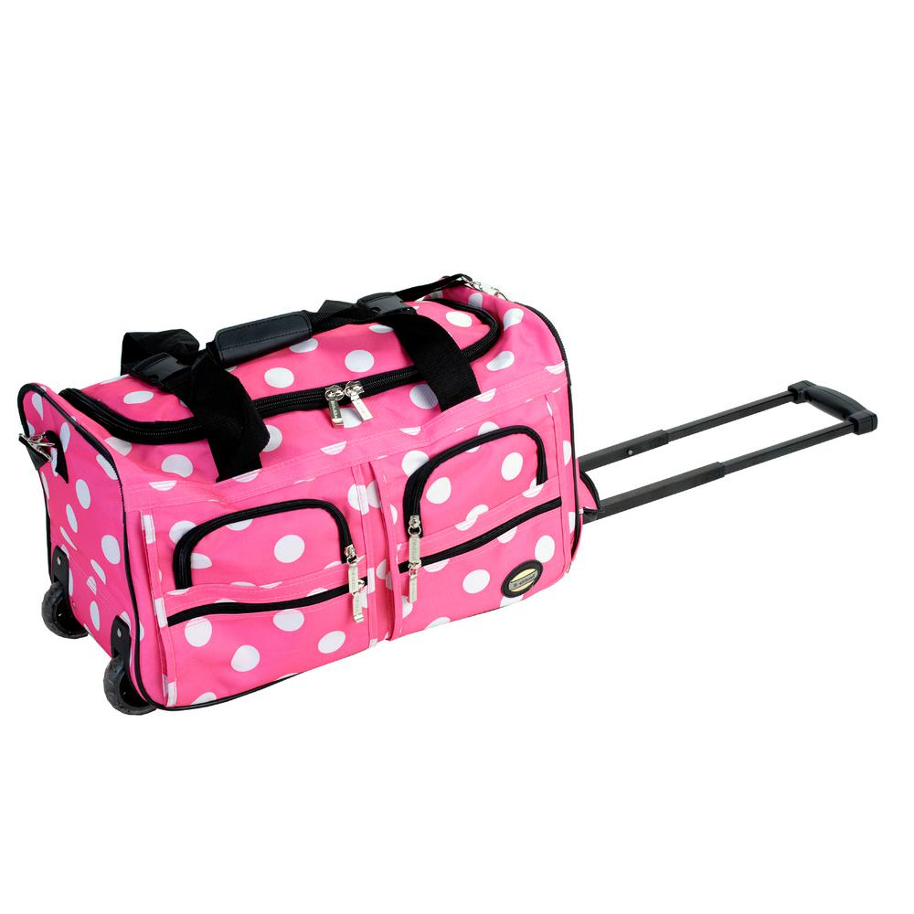 Rockland Voyage 22 in. Rolling Duffle Bag, Pinkdot