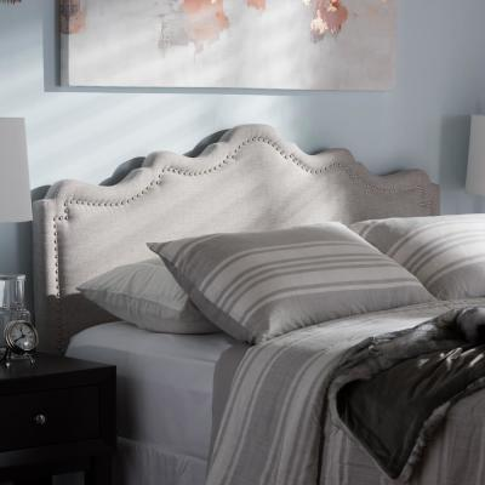 Nadeen Greyish Beige Fabric Upholstered Queen Size Headboard