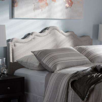 Nadeen Greyish Beige Fabric Upholstered Queen Size Headboard