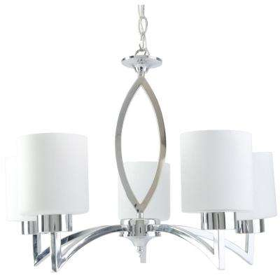 Markam 5-Light Chrome Chandelier with Opal White Glass Shade