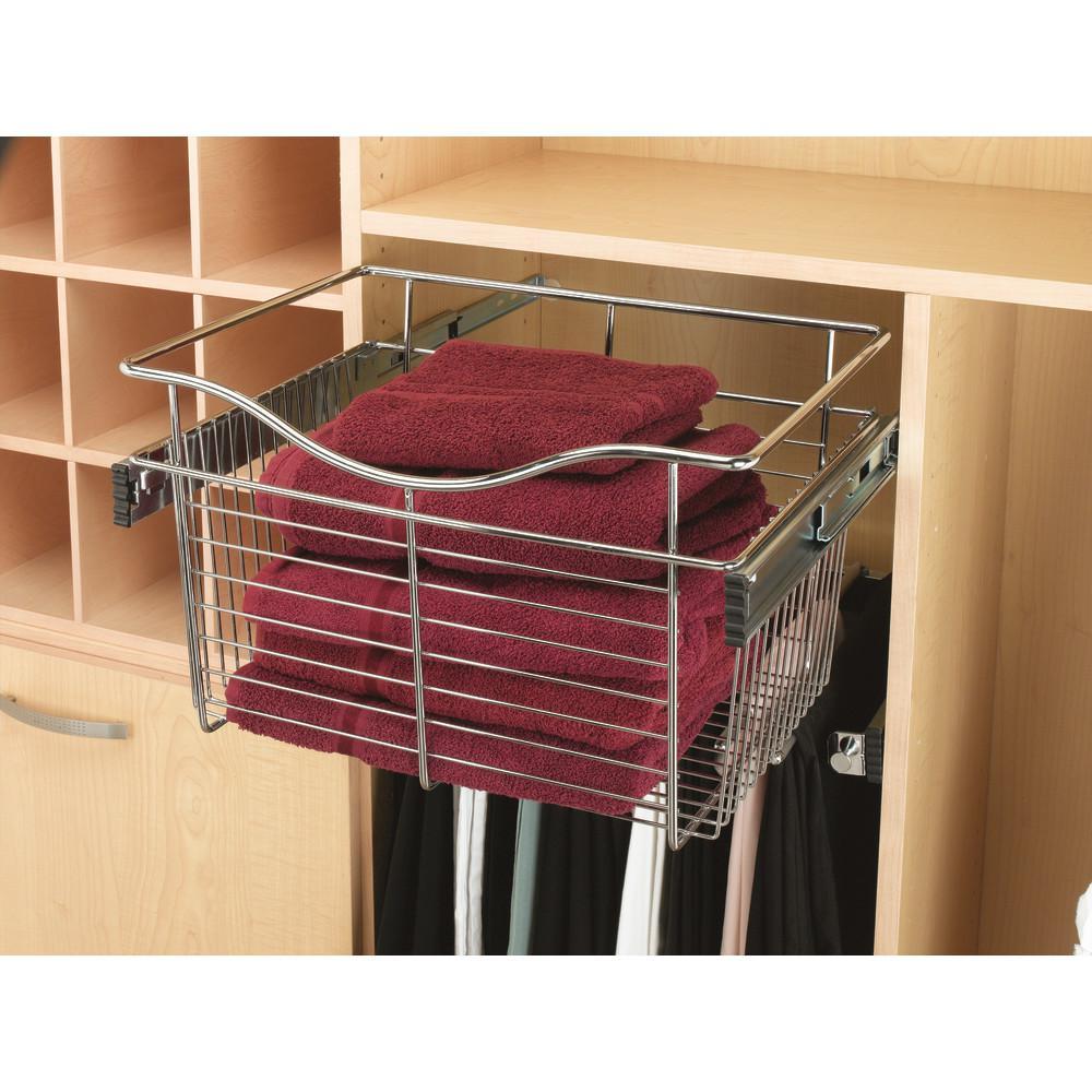 Rev-A-Shelf 24 in. x 11 in. Chrome Closet Pull-Out Basket
