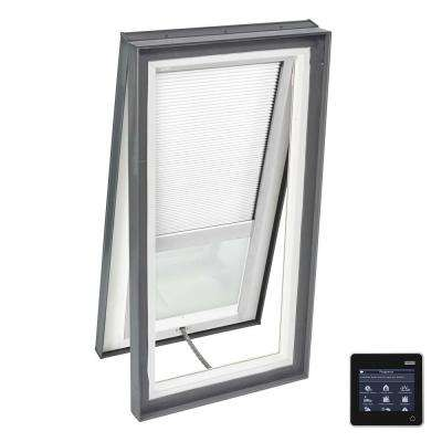 22-1/2 in. x 34-1/2 in. Venting Curb-Mount Skylight Laminated Low-E3 Glass White Solar Powered Room Darkening Blind