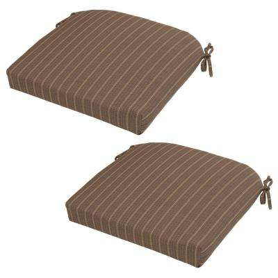 Bark Stripe Rapid-Dry Deluxe Outdoor Seat Cushion (2-Pack)
