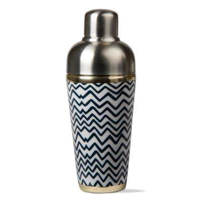 3-Piece Blue and White Waves Cocktail Shaker