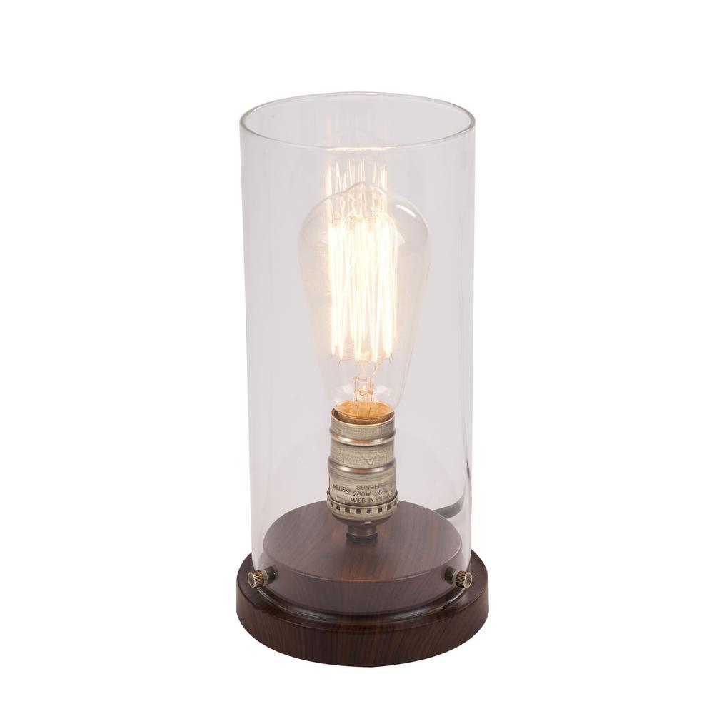 hamptonbay Hampton Bay 10 in. Faux Wood Vintage Uplight Lamp