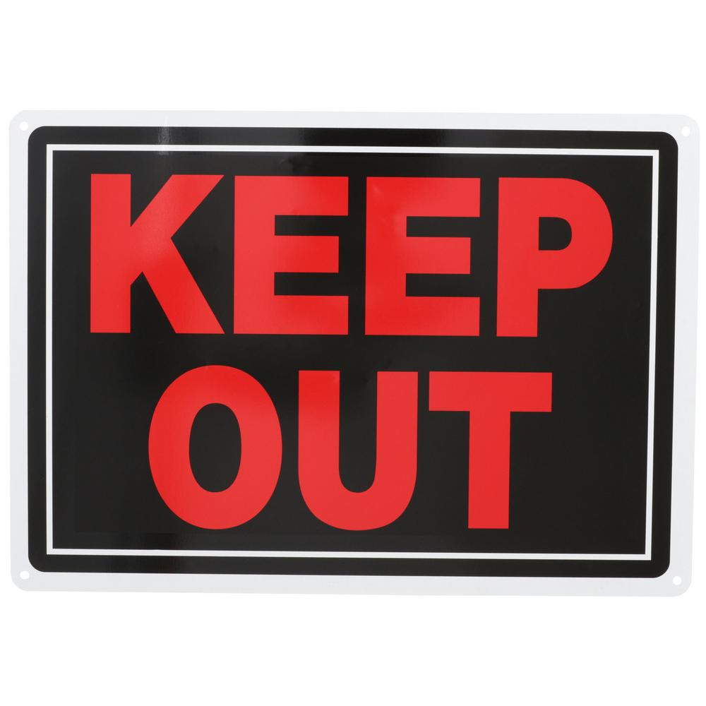 Everbilt 10 in. x 14 in. Aluminum Keep Out Sign