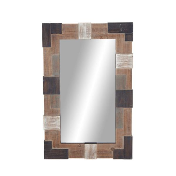 Large Rectangle Brown Modern Mirror (45 in. H x 4.76 in. W)