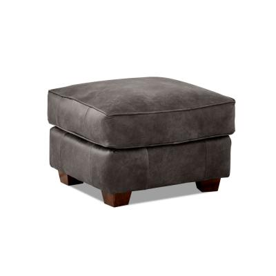 Aiden Leather Ottoman in Briar