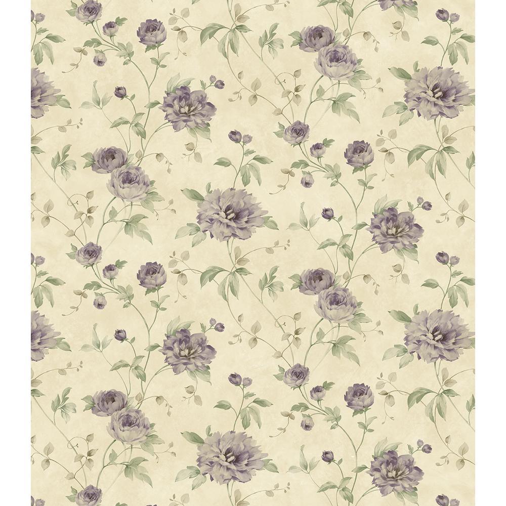 Priscilla Purple Peony Floral Trail Wallpaper