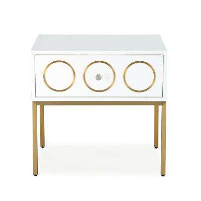 Ella White and Gold Side Table