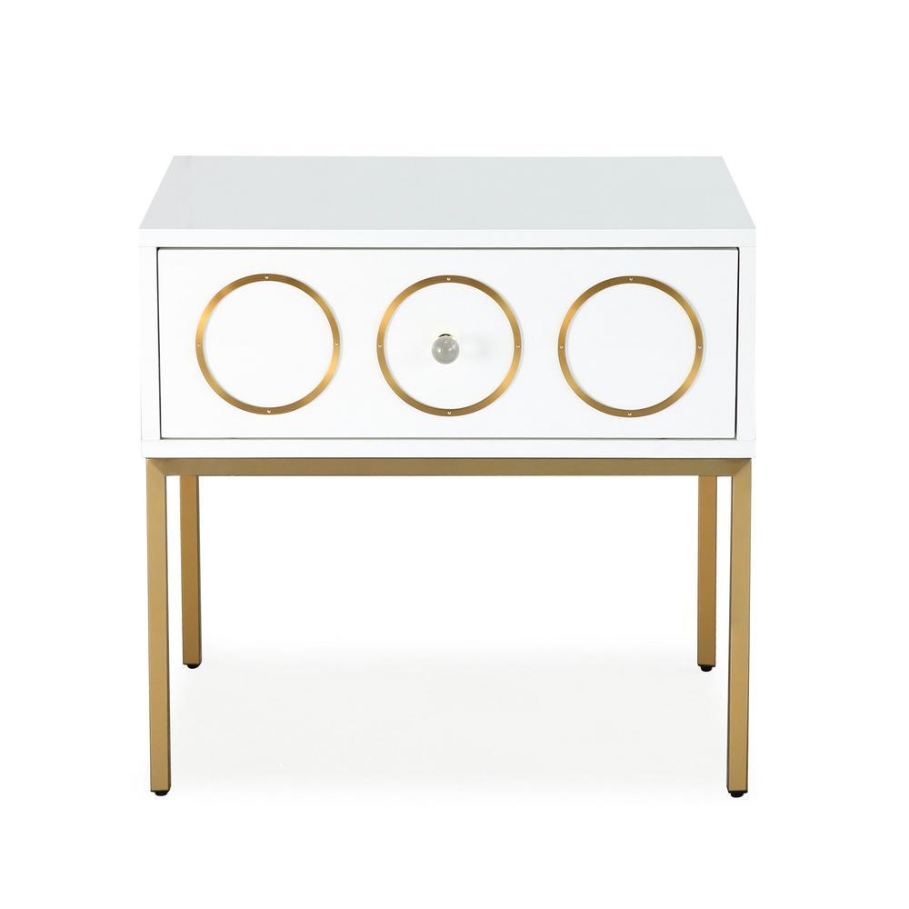 TOV Furniture Ella White And Gold Side Table