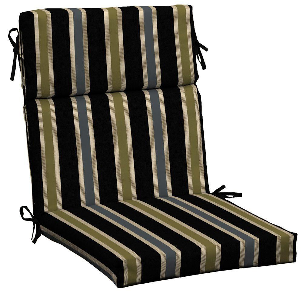 Hampton Bay Black Ribbon Stripe Outdoor Dining Chair Cushion