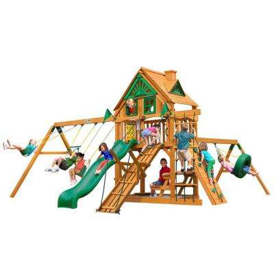 Frontier Treehouse Swing Set with Amber Posts
