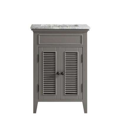 Piedmont 24 in. W x 23 in. D x 35 in. H Vanity in Grey with Marble Vanity Top in White with Basin