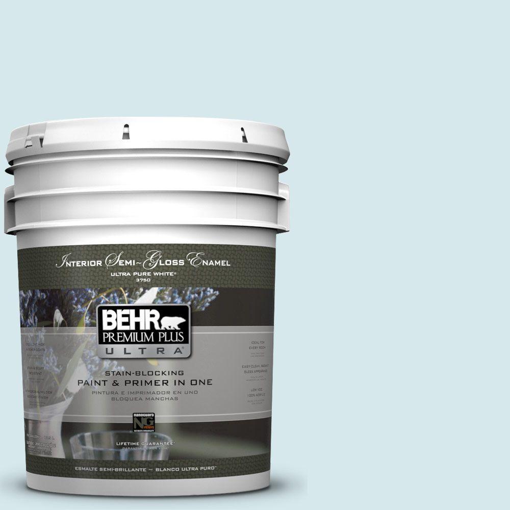 BEHR Premium Plus Ultra 5-gal. #S490-1 Permafrost Semi-Gloss Enamel Interior Paint