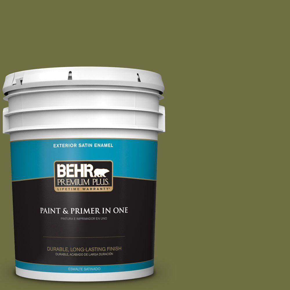 BEHR Premium Plus 5-gal. #M340-7 Classic Avocado Satin Enamel Exterior Paint