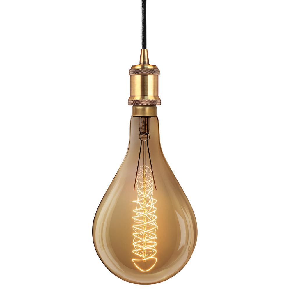 Feit electric 1 light brass pendant fixture with ps52 incandescent feit electric 1 light brass pendant fixture with ps52 incandescent vintage style large light bulb arubaitofo Gallery