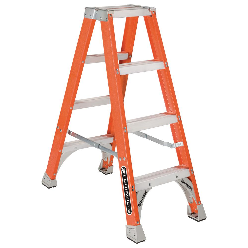 4 ft. Fiberglass Twin Step Ladder with 300 lbs. Load Capacity